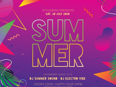 Summer Flyer colorful colors exotically exotic beach summer creativemarket abstract design photoshop graphic design download psd template poster flyer