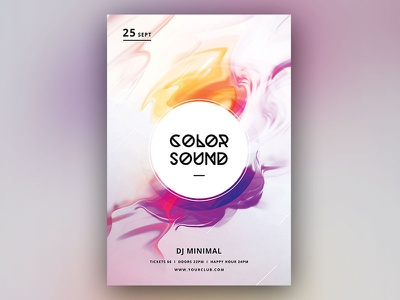 Color Sound Flyer poster design flyer template cloud smoke fluid fluent abstract trance photoshop graphic design download graphicriver psd template poster flyer
