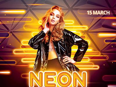 Neon Flyer neon light glowingstudio glowing glow in the dark neon design photoshop graphic design download graphicriver psd template poster flyer