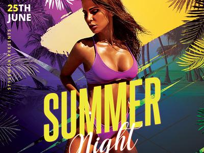 Summer Night Fyer summertime beach coastal summer design template psd photoshop graphic design download graphicriver poster flyer