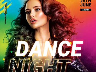 Dance Night Flyer party flyer vivid envato dj colorful colors pop diva design photoshop graphic design download graphicriver psd template poster flyer
