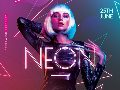 Neon Flyer graphic design download graphicriver psd template poster flyer neon flyer neon sign glow in the dark flyer glow in the dark glowing glow neon