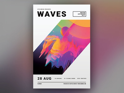 Waves Flyer art exhibition creative graphic design download graphicriver psd template techno trance abstract minimalistic minimal photoshop design poster flyer