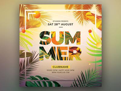 Summer Flyer party envato botanic botanical instagram design graphic design download graphicriver psd template tropic tropical summer beach poster flyer