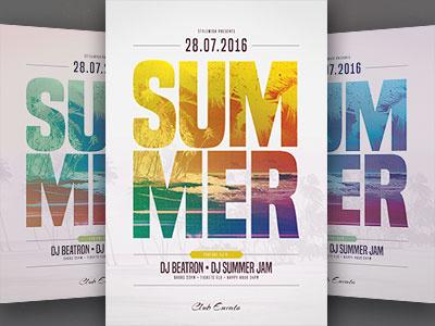 Summer Flyer Template light palms beach party summer party sun color colorful beach template poster flyer summer