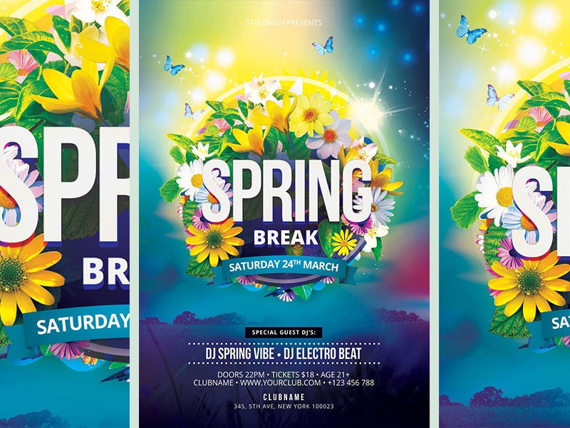 Spring Break Flyer By Stylewish Dribbble Dribbble