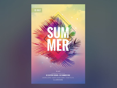 Summer Flyer photoshop psd colors colorful summer flyer template download graphicriver palm poster flyer summer