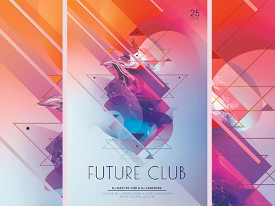 Future Club Flyer colorful unique creative psd download abstract geometry geometric club party flyer poster flyer