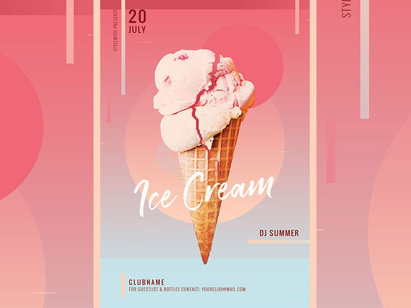 ice cream flyer by stylewish dribbble dribbble