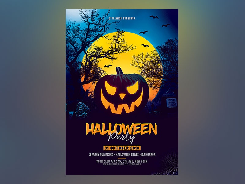 halloween party flyer by stylewish dribbble dribbble