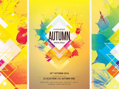 Autumn Flyer graphic design lights light creative modern abstract shapes download template design graphicriver colors colorful fall party autumn party autumn flyer fall flyer autumn flyer fall
