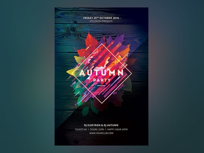 Autumn Party Flyer colorful design abstract graphic design download graphicriver template nature leaves fab design photoshop psd poster party flyer fall flyer autumn party autumn fall