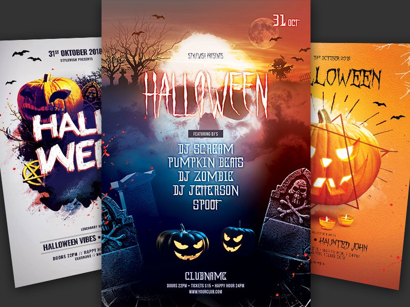 Halloween Flyer Bundle Vol06 Design Download Graphic Bash Graphicriver Template Photoshop Psd