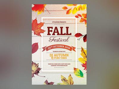 Fall Festival Flyer design template graphicriver graphic design photoshop psd download fall flyer fall party autumn party autumn poster flyer fall