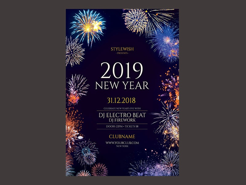 new year flyer party flyer design template download graphic design graphicriver psd photoshop event dark night