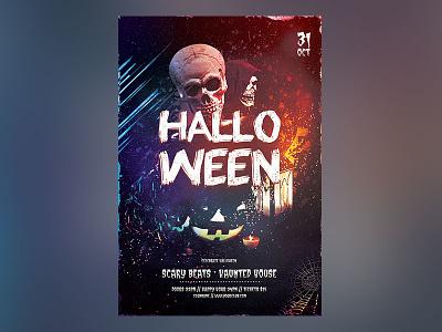 Halloween Flyer flyer design graphic design template graphicriver photoshop psd thriller thrilling terror skull night dark halloween party halloween night poster halloween flyer halloween