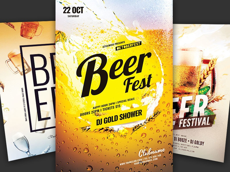 Beer Flyer Bundle psd graphicriver graphic design design pub bar drinks drinking oktoberfest beer download flyer bundle template poster flyer