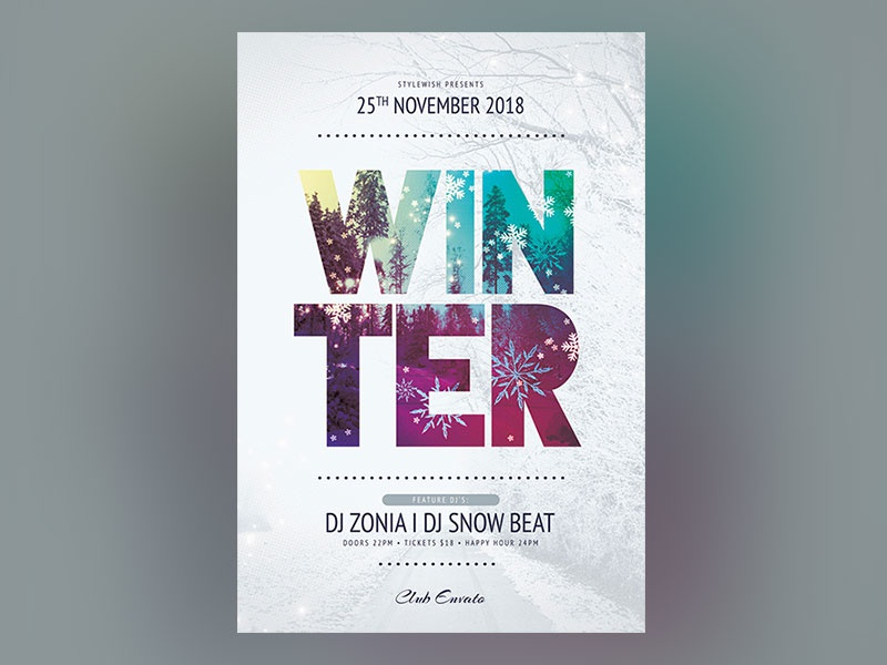 Winter Flyer graphic design graphicriver download template cold freezing photoshop psd poster flyer winter flyer winter party winter