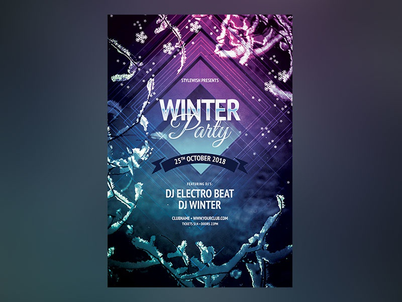 Winter Party Flyer psd graphic design download graphicriver template downoad cold freezing photoshop poster flyer winter