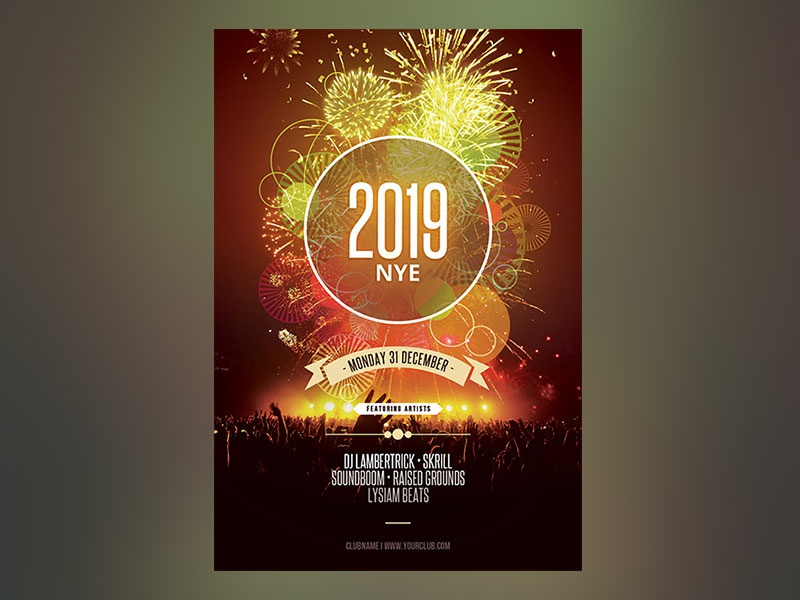 new year flyer graphic design download template poster flyer creativemarket photoshop psd nye flyer nye party