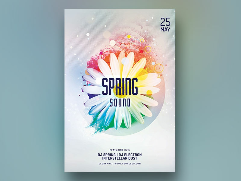 Spring Sound Flyer daisy flowers design photoshop graphic design download graphicriver psd template spring party spring flyer summer poster flyer spring