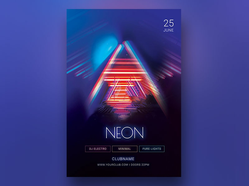 Neon Flyer by styleWish on Dribbble