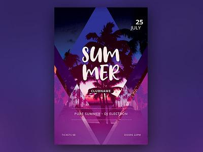 Summer Flyer beach bar tropic tropical beach photoshop graphic design download graphicriver psd template flyer poster summer flyer summer