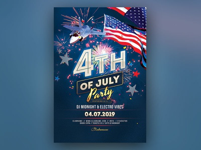 4th of July Flyer 4th of july memorial day labor day laborday americana american 4thofjuly design photoshop graphic design download psd template poster flyer