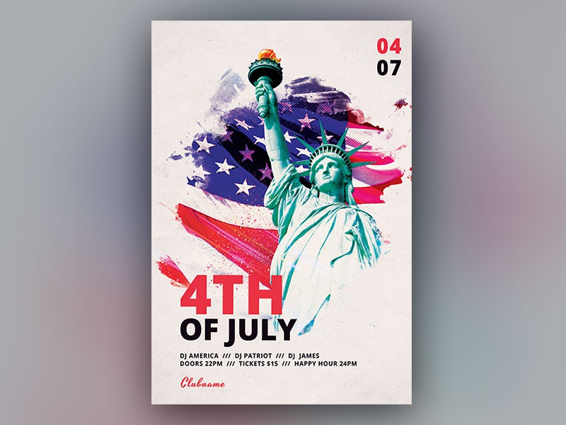 4th of July Flyer patriotic patriot american america independenceday labor day memorial day 4thofjuly abstract design photoshop graphic design download psd template poster flyer