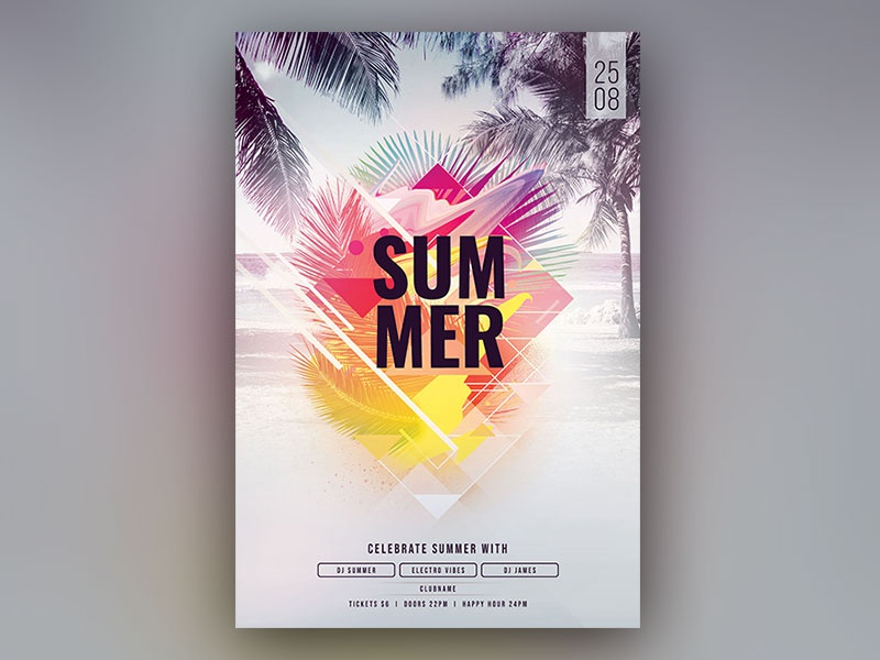 Summer Flyer beach geometry shapes geometric modern colorful summer light abstract design photoshop graphic design download graphicriver psd template poster flyer