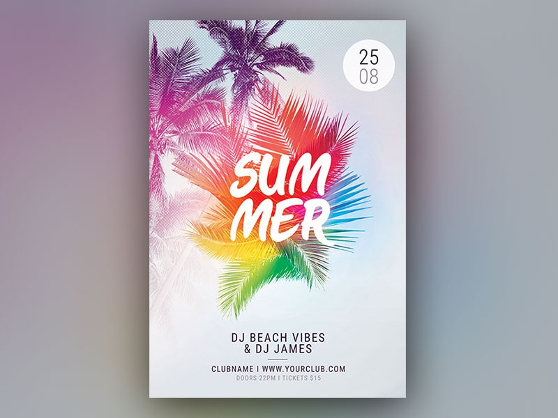 Summer Flyer party flyer colorful light abstract design photoshop graphic design download psd template summer beach palm palms flyer design poster flyer