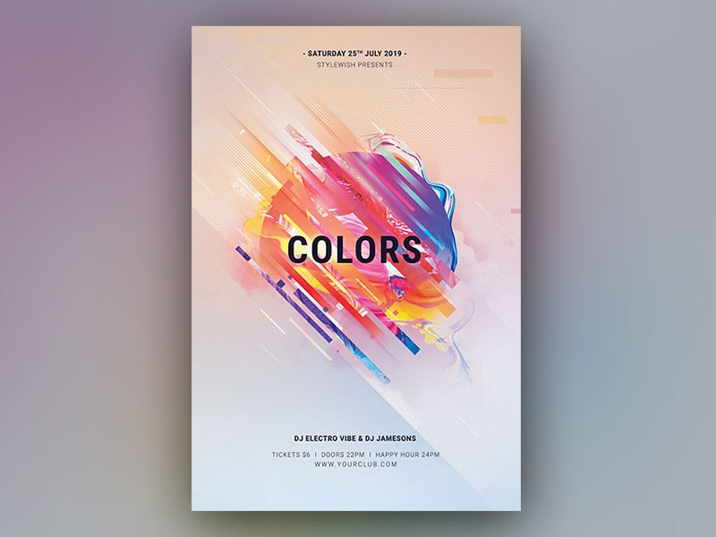 Colors Flyer shapes modern geometric colorful light abstract design photoshop template graphic design download psd design graphicriver psd flyer design poster flyer