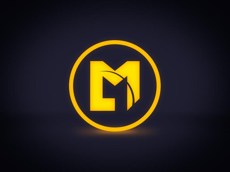 Logo Badge logo orange blue brand l m circle flat design glow badge