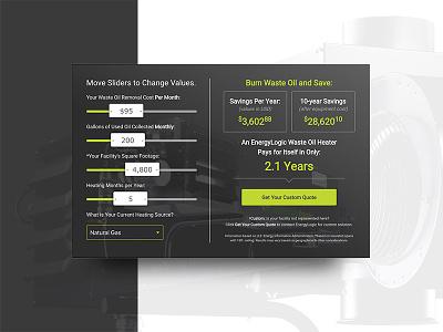 ROI Savings Calculator—Live 🔥 slider roi calculator savings form landing page design ui web clean branding minimal