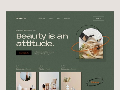 Beauty Product Website fashion brand product product page layout beauty website design header landing page website claw design claw claw studio claw interactive wstyle inspiration app ui ux design