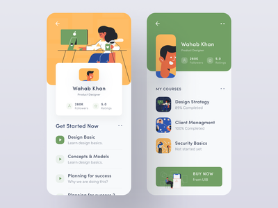 Student Profiles learning app course app profile design profile cover profile student app craftwork flat illustration ui elements ui8 vector illustration wstyle mobile app app ios inspiration design ux ui