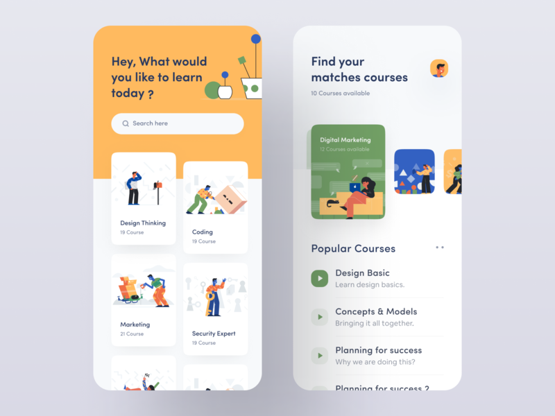 Design Course App UI ui ux design inspiration ios app mobile app wstyle illustration vector ui8 ui elements flat illustration craftwork student app profile profile cover profile design course app learning app