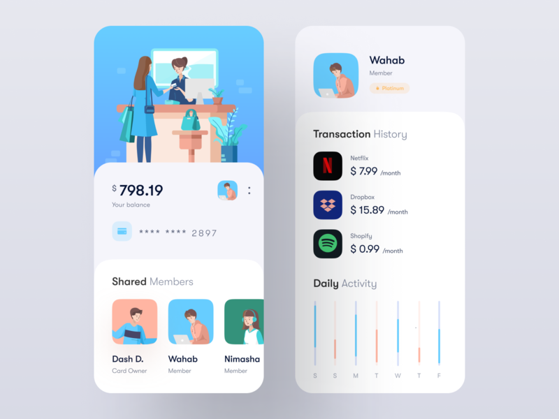 Profile & Transactions UI profile wallet app banking app cards avatars workplace sebo iconspace ui8 icon banking flat illustration wstyle mobile app app inspiration design ux ui