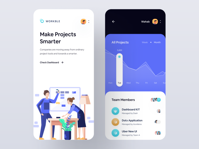 Digital Project Intelligence App workspaces task manager workspace ui ux design inspiration app mobile app wstyle illustration flat banking icon ui8 iconspace sebo workplace avatars cards