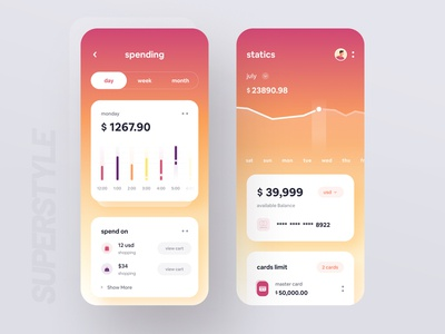 SuperStyle : Finance 3.0 creditcard charts cards banking app financial app fintech finance app super style super ui typography bold wstyle ios mobile app app inspiration ux design ui