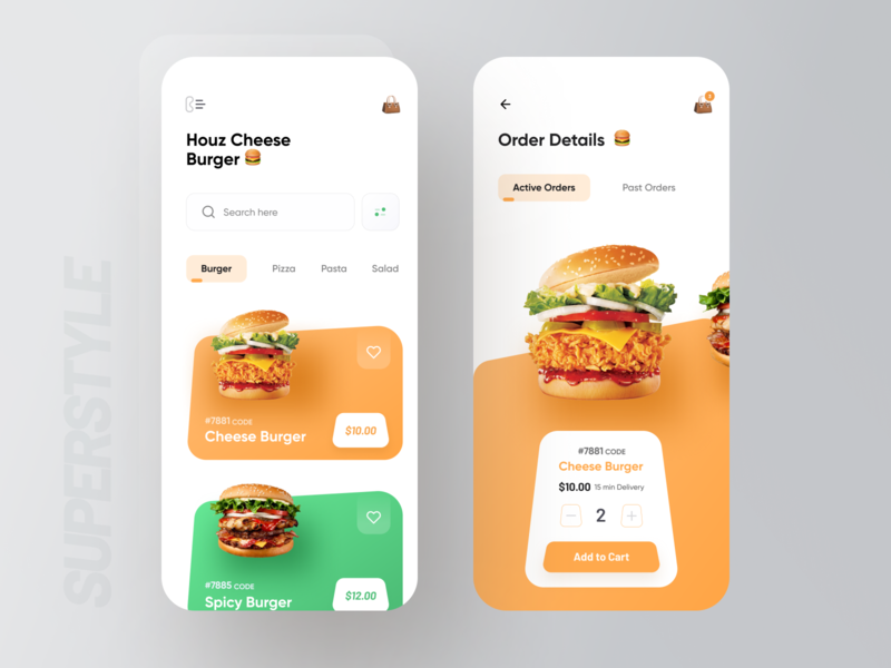 SuperStyle : Food Delivery App 🍔 food illustration image emoji colorful font order app grocery app delivery food typography bold wstyle ios mobile app app inspiration design ux ui