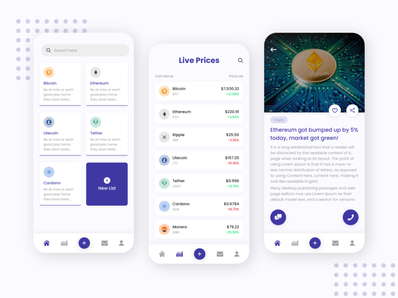 Cryptocurrency App bitcoin exchange bitcoin article blog crypto crypto currency crypto wallet live exchange live price cryptocurrency ux ios mobileapps app uiuxdesign dribbble design ui ui  ux uidesign
