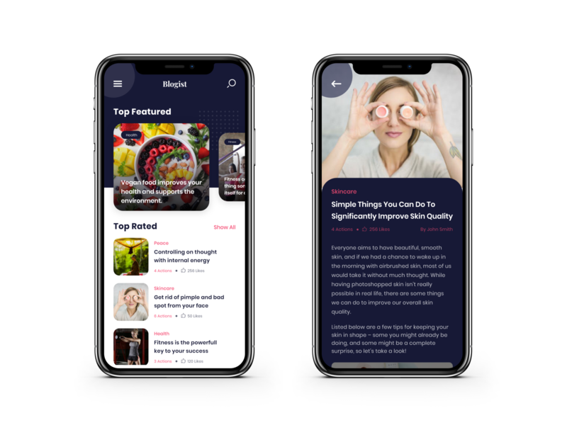 Blog App food article food blog skincare article page article design blog design blog post blogger blogging article blog iphone mobileapps app uiuxdesign dribbble design ui  ux ui uidesign