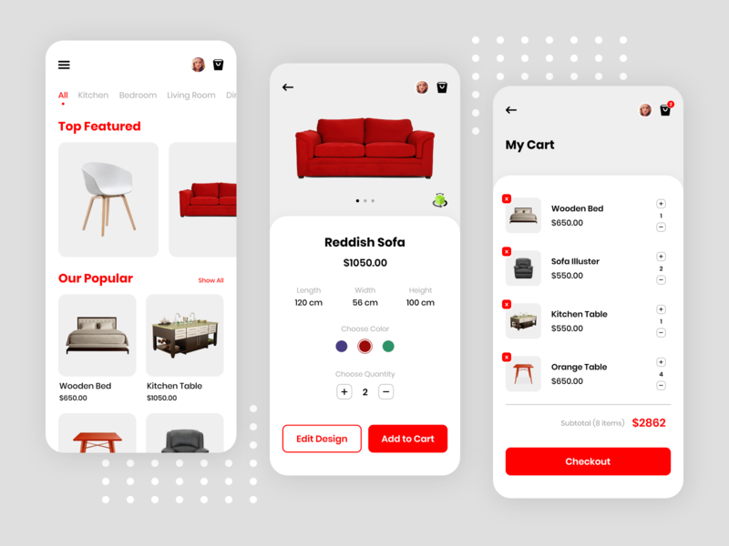 Furniture Ecommerce App sofa product design cart 3d furniture 3d furniture design furniture store furniture app furniture ios iphone mobileapps app uiuxdesign dribbble design ui  ux ui uidesign