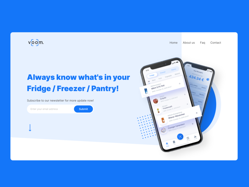 Digital Fridge Landing Page fridge app digital app design app digital design iphone mockup freezer pantry digital fridge fridge illustration ux landing page web uiuxdesign dribbble design ui  ux ui uidesign