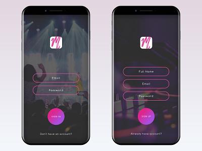 """Sign in/Sign up """"Music App Ui"""" signup signin uiux ux design iphone music app music ui mobileapps ios uidesign app"""