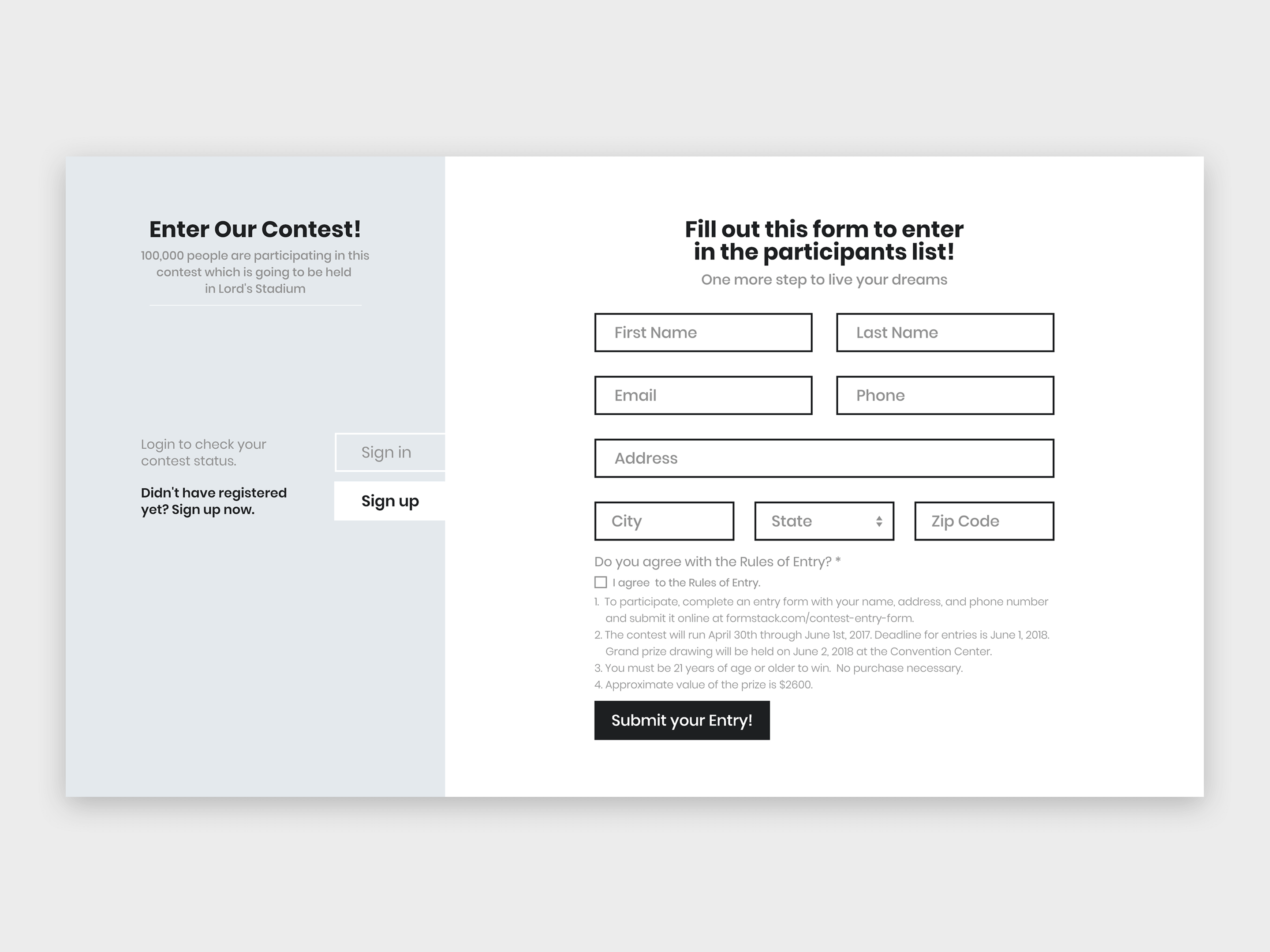 Contest Form | Sign Up Page Form For Contest By Afaq Dribbble Dribbble