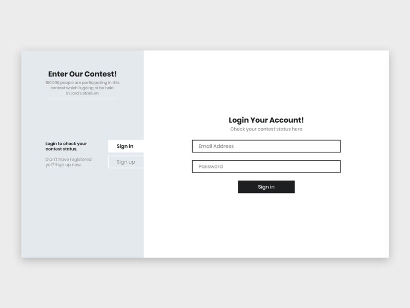 Sign up Page/Form for Contest dailyui sign in sign in page sign in form landing page design ux landing page web uiuxdesign dribbble ui  ux ui design uidesign