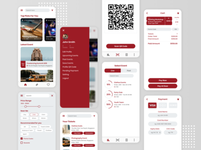 Events Ticket Booking App payment method dashboard ui barcode qr code booking event ticket booking ticket app event app ux mobileapps ios app uiuxdesign dribbble design ui  ux ui uidesign