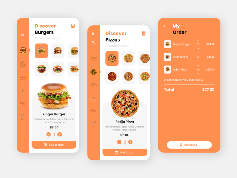 Fast Food App Design cart checkout fast food pizza burger restaurant app food mobileapps ios app uiuxdesign dribbble ui design ui  ux uidesign
